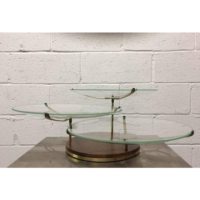 "Three-Tier Walnut & Brass Swivel Serving Glass Plates. Measures: 22"" in diameter x 8.25""H. Each plate is 14"" in diameter."