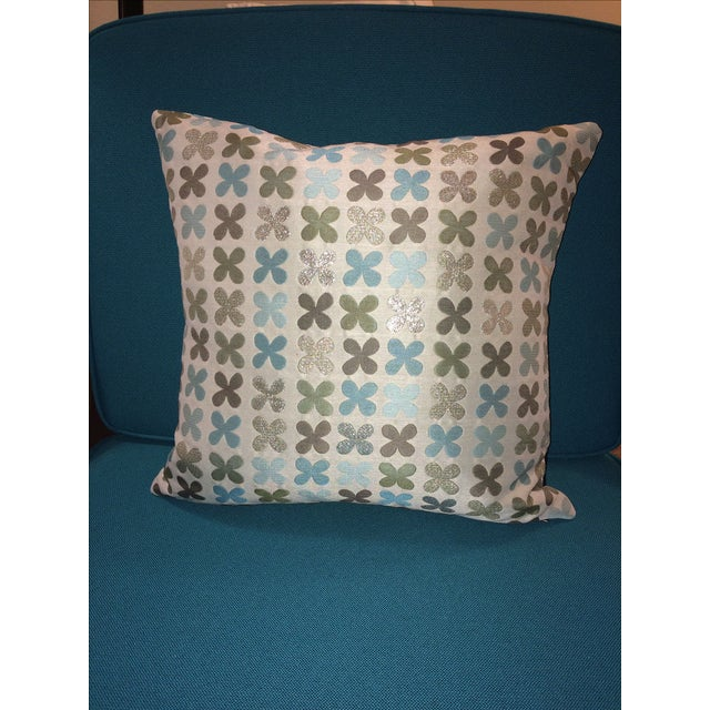 Maharam Quatrefoil Pillow in Silver - Image 2 of 5