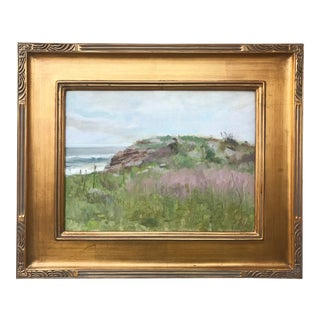 Vintage Original American Impressionist Oil Painting Costal Beach Landscape by Harry Barton For Sale