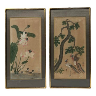 Antique Asian Watercolors - a Pair For Sale