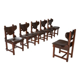 1970s Oak and Leather Brutalist Chairs - Set of 6 For Sale