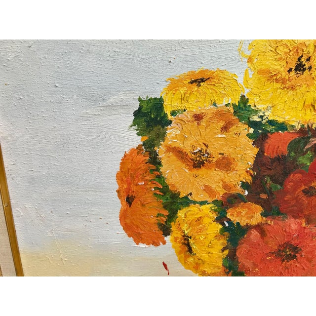 1970s Vintage Yellow and Orange Flowers Framed Painting For Sale - Image 4 of 8