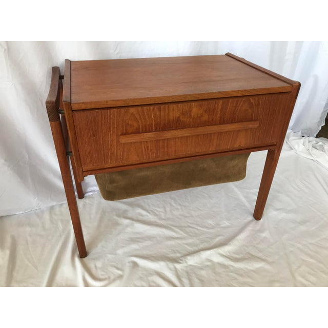 Danish teak sewing table with double-sided drawer, adjustable interior tray, original double sided suede bottom bag drawer...