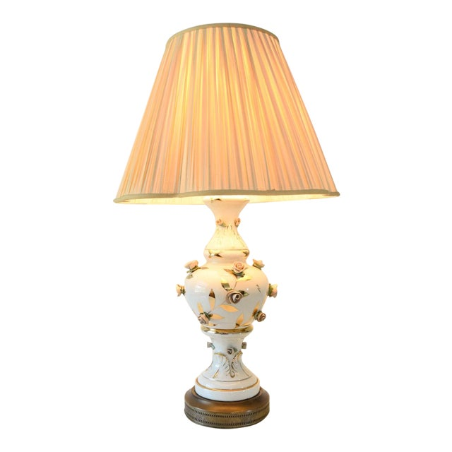 Antique Victorian Table Lamp with Rose Motif For Sale