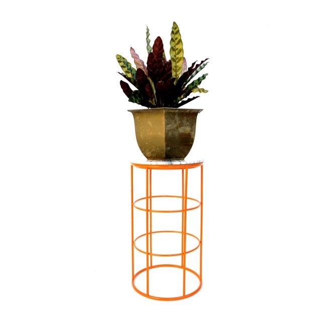 Carrara Marble & Orange Metal Fern Stand Pedestal Table - Image 5 of 11