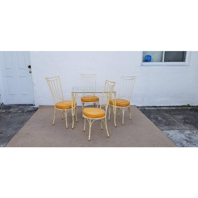 1960s 1960s Vintage Brown Jordan Calcuta Faux Bamboo Aluminum Outdoor Dining- Set of 5 For Sale - Image 5 of 13