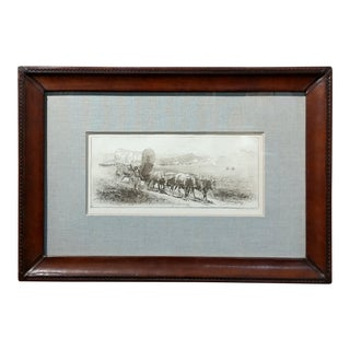 Edward Borein Emigrant Train Covered Wagon With Bulls Original Etching For Sale