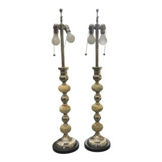 1970s Onyx and Nickel Plated Brass Lamps - a Pair For Sale