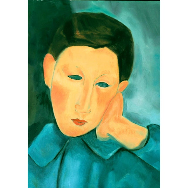 """Boy in Green"" Oil Painting After Modigliani by Trixie Pitts - Image 2 of 5"