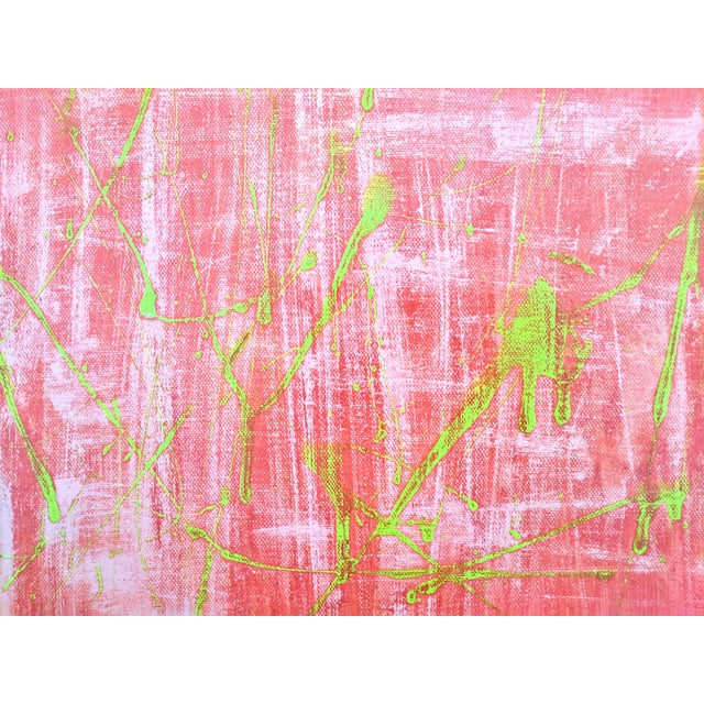 2010s Original Abstract Watermelon Pink and Lime Green Splatter Painting For Sale - Image 5 of 6
