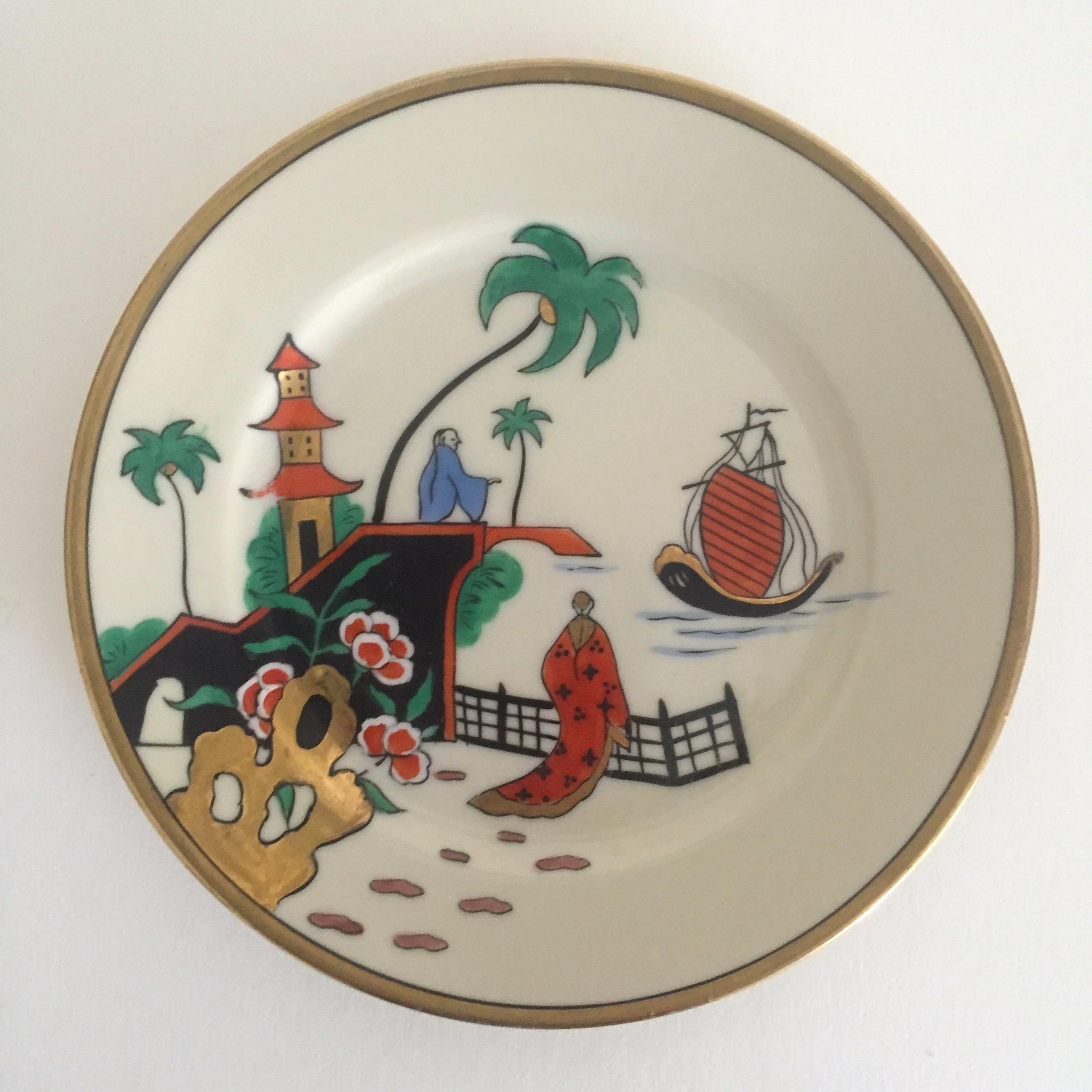 Vintage Noritake Japan Mid Century Modern Hand Painted Decorative Plates - a Pair - Image 3 : hand painted decorative plates - pezcame.com