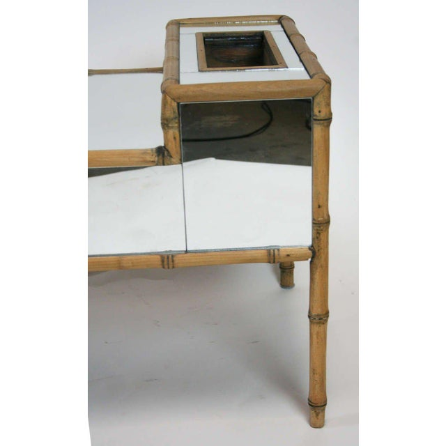 Hollywood Regency Faux Bamboo Mirrored Coffee Table For Sale In Palm Springs - Image 6 of 6