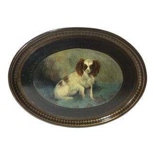 19th Century Papier Maché Oval Tray of a Cavalier King Charles Spaniel