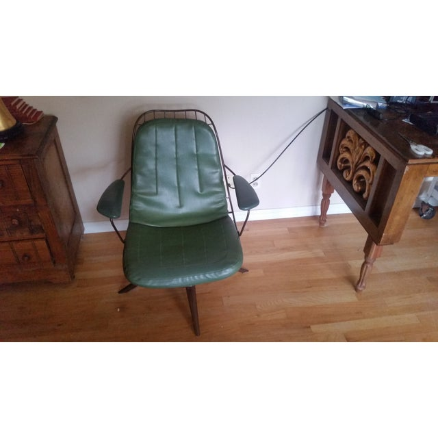 Vintage Olive Green Homecrest Wire Swivel Chair - Image 5 of 6