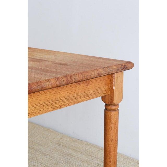 American Oak Butcher Block Style Farm Table For Sale - Image 10 of 13