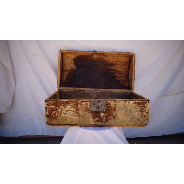 Early 1800's Hide Covered Trunk - Image 5 of 5