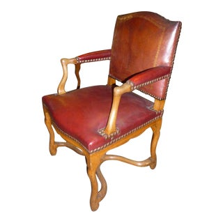 Pair of 20th Century Louis XIV Style Banque de France Red Leather Armchairs