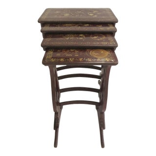 19th Century Dark Red Lacquer with Gilt Nesting Tables - Set of 4 For Sale