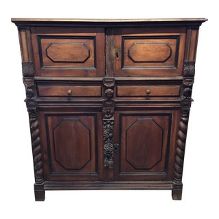 Early Belgian Cabinet With Mid 19th C. Ornamentation