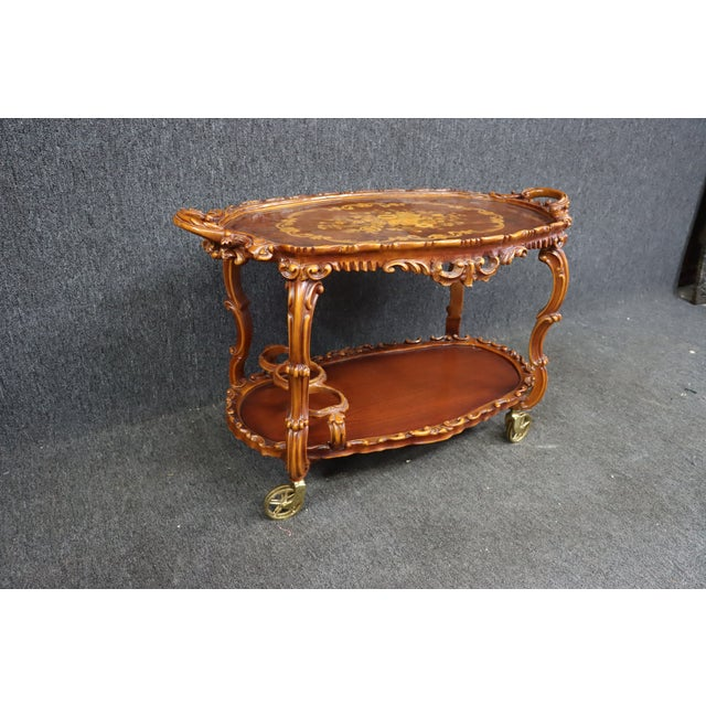 Italian Italian Style Carved and Inlaid Bar Cart For Sale - Image 3 of 9