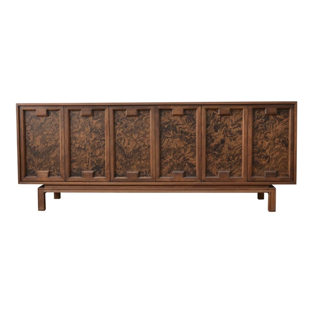 James Mont Style Mid Century Credenza With Burl Doors For Sale