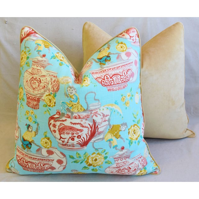 """Aqua Chinoiserie Playful Monkeys & Chinese Vases Feather/Down Pillows 26"""" Square - Pair For Sale - Image 10 of 13"""