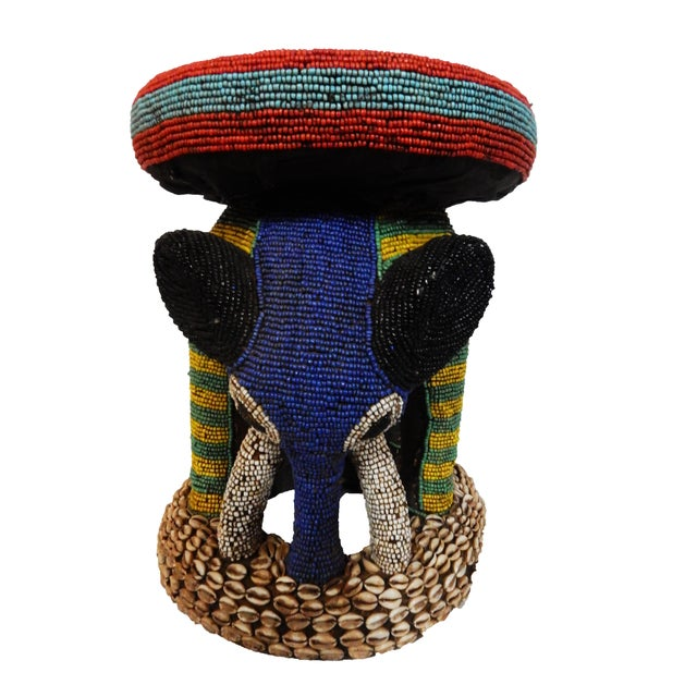 African Beaded Bamileke Elephant Stool - Image 3 of 10