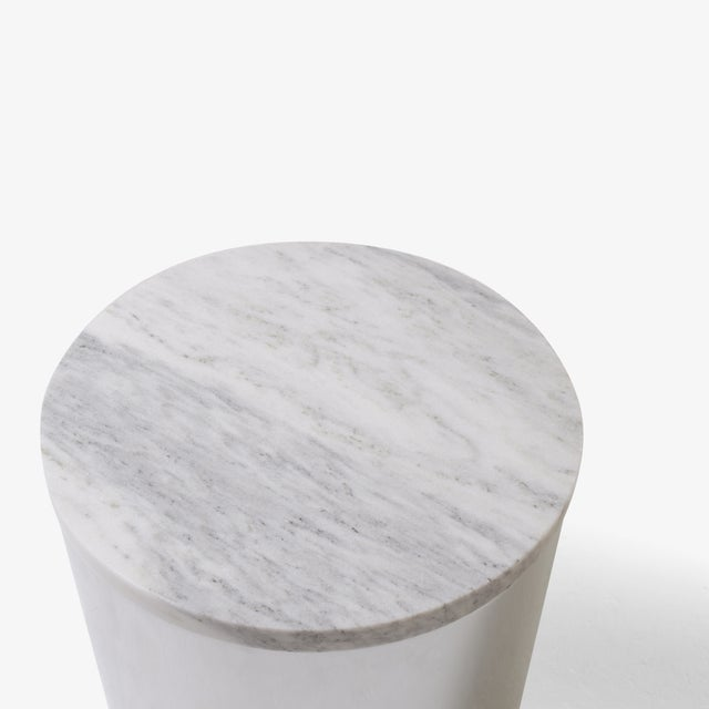Marble And Steel Drum Accent Table By Paul Mayen For