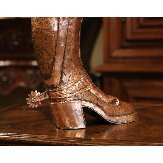Early 20th Century French Polished Repousse Copper Boot Umbrella Stand For Sale - Image 4 of 6
