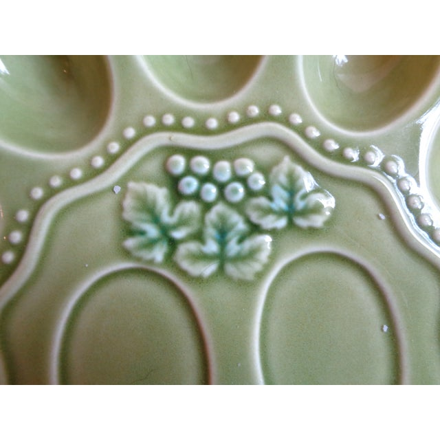 Mid-Century Green Deviled Egg Serving Plate - Image 3 of 4