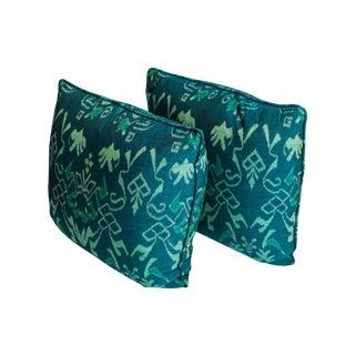 Teal Ikat Throw Pillows - A Pair For Sale
