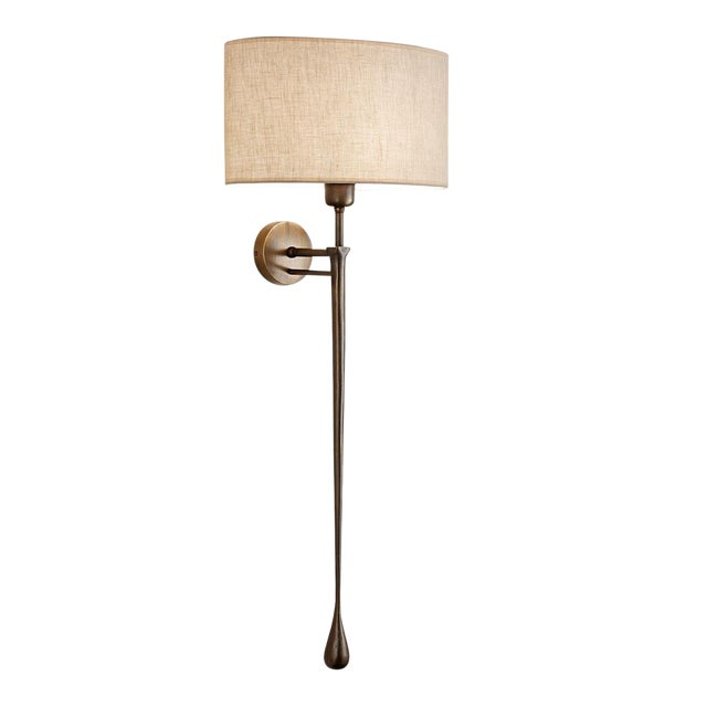 Antique Bronze Wall Light With Shade For Sale