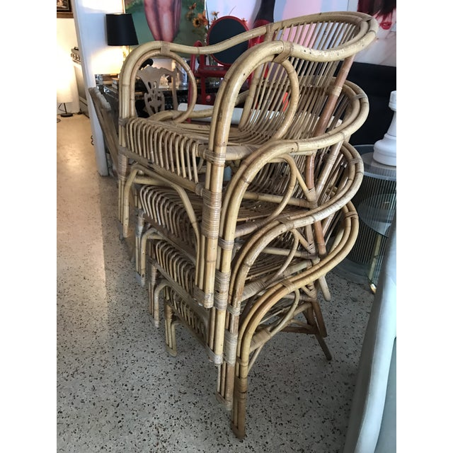1960s Vintage Bamboo Arm Chairs- Set of 4 For Sale - Image 12 of 13