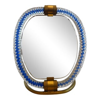 1940s Venini Style Murano Glass and Bronze Vanity Mirror For Sale