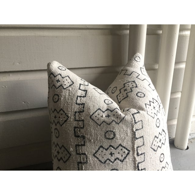 Boho Chic White African Mudcloth Pillow Cover - Image 7 of 10