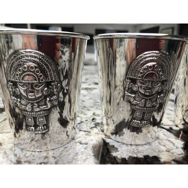 Vintage Peruvian Silver Inca Mint Julep Cups - Set of 5