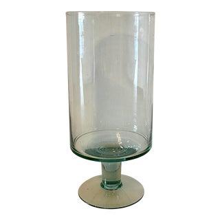 Glass Vase on Pedestal Base For Sale