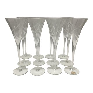 Romania Glass Fine Crystal Champagne Flutes - Set of 12 For Sale