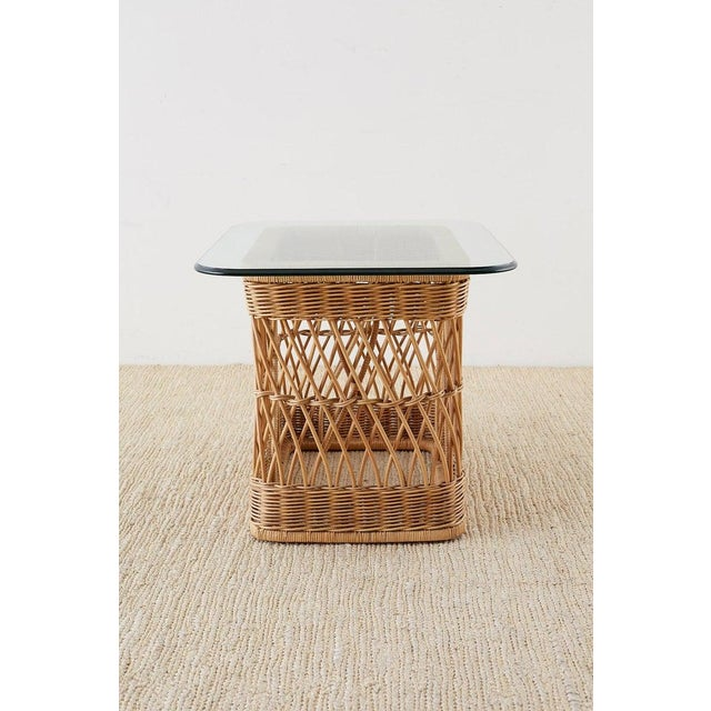 Contemporary McGuire Organic Modern Rattan Wicker Coffee Cocktail Table For Sale - Image 3 of 13