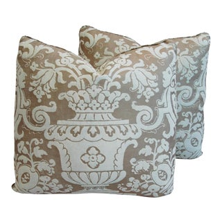 "19"" X 18"" Italian Mariano Fortuny Carnavalet Feather/Down Pillows - Pair For Sale"