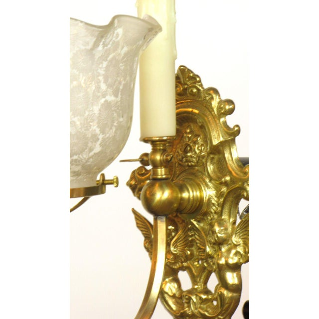 Late 19th Century Pair of Gas and Electric Sconces For Sale - Image 5 of 6