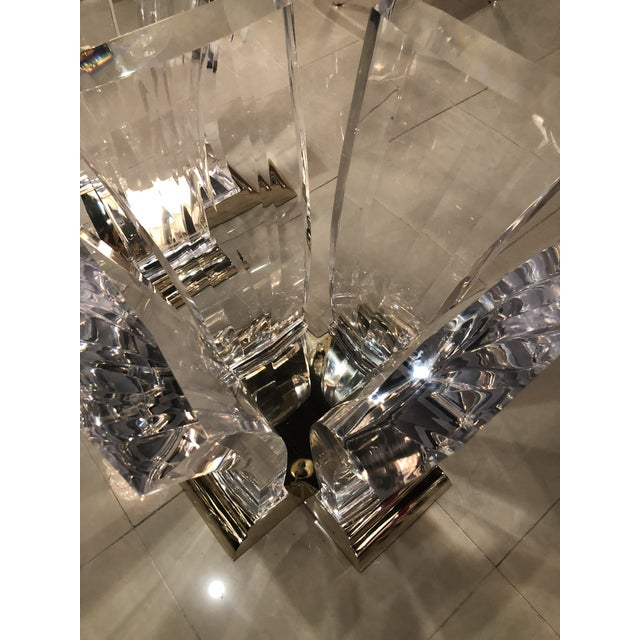 Vintage Jeffrey Bigelow Hollywood Regency Lucite and Brass Dining Table Bases - A Pair For Sale - Image 9 of 13