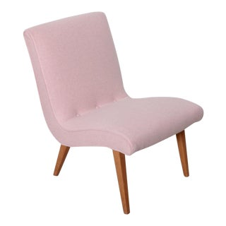 Jens Risom Lounge Chair 654U for Knoll in Pink Felt Fabric