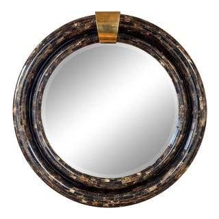 Ambience Tessellated Horn & Brass Mirror in the Manner of Enrique Garcel, 1970s For Sale
