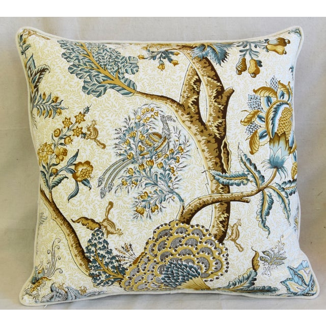 """Adirondack French Jacobean Floral Cotton & Linen Feather/Down Pillows 24"""" Square - Pair For Sale - Image 3 of 13"""