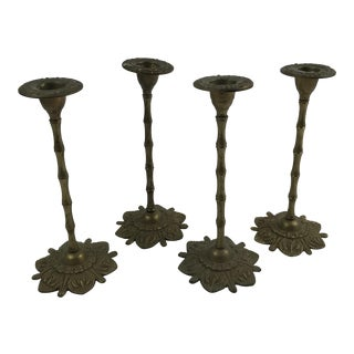 Faux Bamboo & Floral Brass Candlesticks - Set of 4