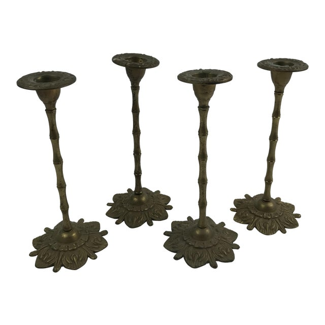 Faux Bamboo & Floral Brass Candlesticks - Set of 4 For Sale