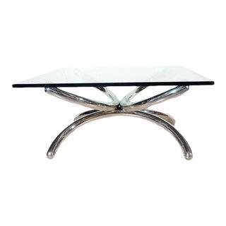 1970s Modern Italian Tubular Sculpture Chrome Coffee Table For Sale