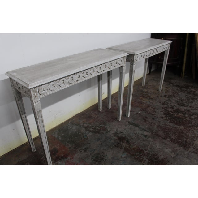 Wood 20th Century Vintage Swedish Gustavian Style Console Table For Sale - Image 7 of 9