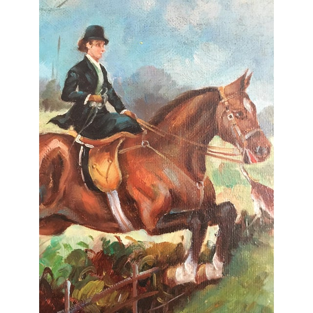 Equestrian Steeplechase with Hunting Hounds Petite Oil Painting - Image 3 of 9